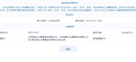 中骏+金辉联合体45.2亿元摘北京大兴新城核心区地块